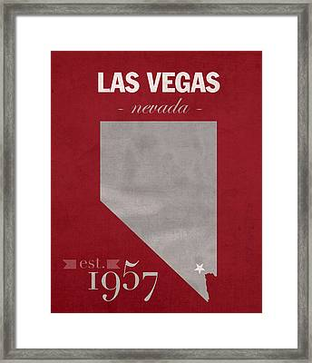 University Of Nevada Las Vegas Rebels Unlv College Town State Map Poster Series No 073 Framed Print