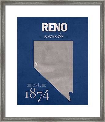 University Of Nevada Reno Wolfpack College Town State Map Poster Series No 072 Framed Print