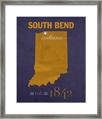 University Of Notre Dame Fighting Irish South Bend College Town State Map Poster Series No 081 Framed Print by Design Turnpike