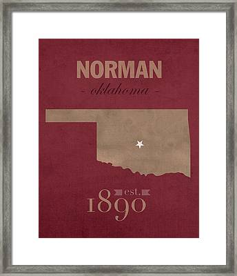 University Of Oklahoma Sooners Norman College Town State Map Poster Series No 083 Framed Print by Design Turnpike