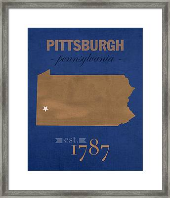 University Of Pittsburgh Pennsylvania Panthers College Town State Map Poster Series No 089 Framed Print by Design Turnpike