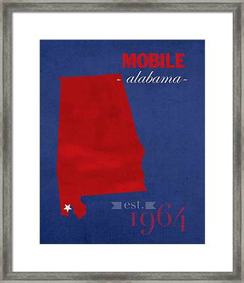 University Of South Alabama Jaguars Mobile College Town State Map Poster Series No 095 Framed Print