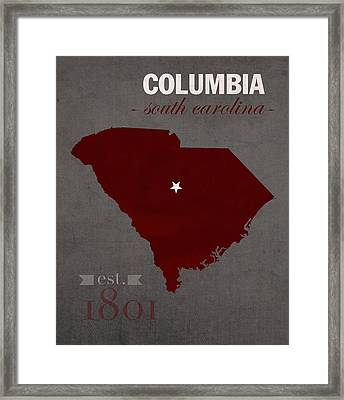 University Of South Carolina Gamecocks Columbia College Town State Map Poster Series No 096 Framed Print