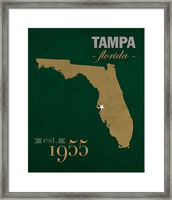 University Of South Florida Bulls Tampa Florida College Town State Map Poster Series No 101 Framed Print