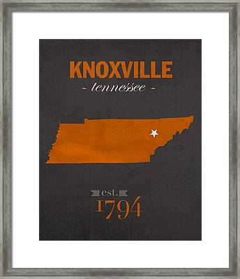 University Of Tennessee Volunteers Knoxville College Town State Map Poster Series No 104 Framed Print