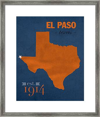 University Of Texas At El Paso Utep Miners College Town State Map Poster Series No 110 Framed Print by Design Turnpike