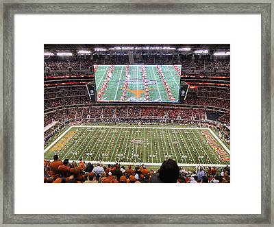 University Of Texas Championship Game Framed Print by Georgia Fowler