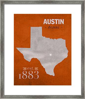 University Of Texas Longhorns Austin College Town State Map Poster Series No 105 Framed Print by Design Turnpike