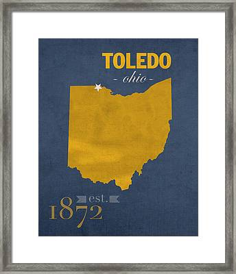 University Of Toledo Ohio Rockets College Town State Map Poster Series No 112 Framed Print