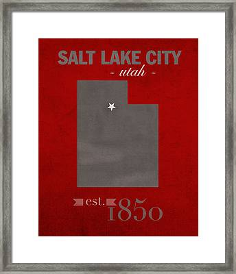 University Of Utah Utes Salt Lake City College Town State Map Poster Series No 116 Framed Print by Design Turnpike