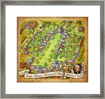 University Of Virginia Academical Village  With Scroll Framed Print by Maria Rabinky