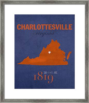 University Of Virginia Cavaliers Charlotteville College Town State Map Poster Series No 119 Framed Print by Design Turnpike