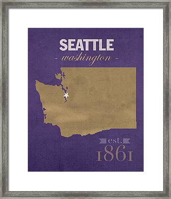 University Of Washington Huskies Seattle College Town State Map Poster Series No 122 Framed Print by Design Turnpike