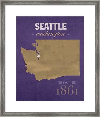 University Of Washington Huskies Seattle College Town State Map Poster Series No 122 Framed Print