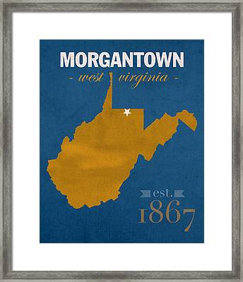 University Of West Virginia Mountaineers Morgantown Wv College Town State Map Poster Series No 124 Framed Print by Design Turnpike
