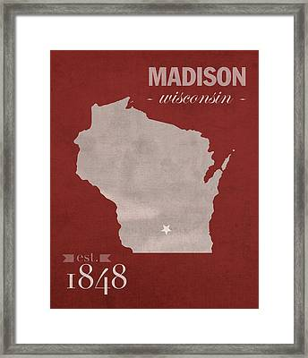 University Of Wisconsin Badgers Madison Wi College Town State Map Poster Series No 127 Framed Print by Design Turnpike