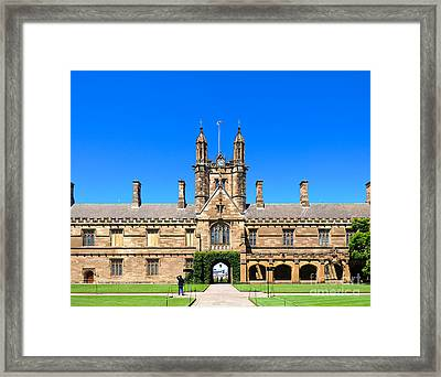 University Quadrangle With Gothic Revival Architecture Framed Print