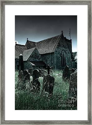 unkempt overgrown gravestones in the churchyard of St Mary's chu Framed Print by Peter Noyce