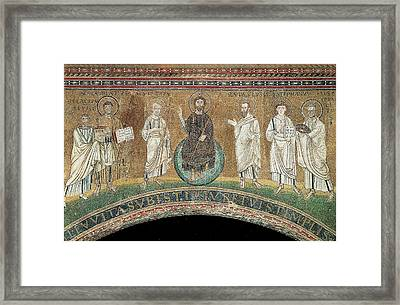 Unknown, Benedictory Jesus With Sts Framed Print