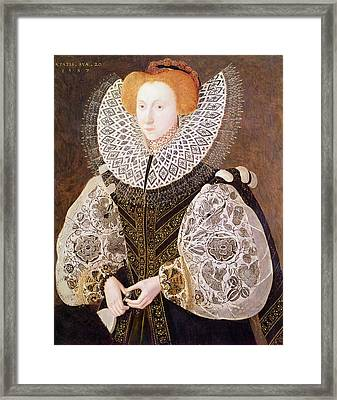 Unknown Girl, Aged 20, 1587 Oil On Panel Framed Print by John, the Younger Bettes