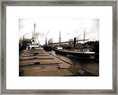 Unloading At Ore Docks, Cleveland, Ohio, John Craig Framed Print by Litz Collection