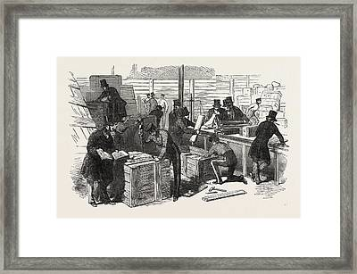 Unpacking Goods In The Great Exhibition Building Framed Print by English School