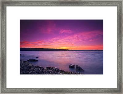 Sunrise In Cayuga Lake II Ithaca New York Framed Print by Paul Ge