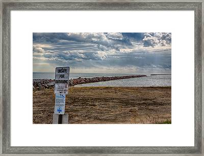Unsafe For Swimming Framed Print by Ricky L Jones