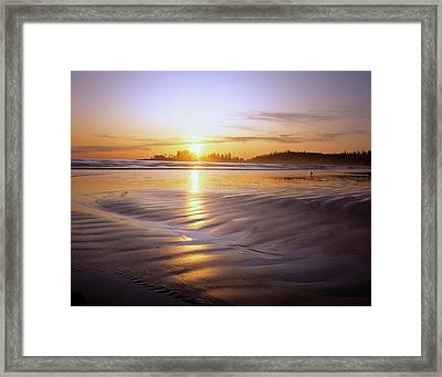 Unset On Long Beach At Low Tide Framed Print by Panoramic Images