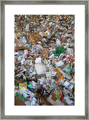 Unsorted Waste At A Recycling Centre Framed Print by Peter Menzel