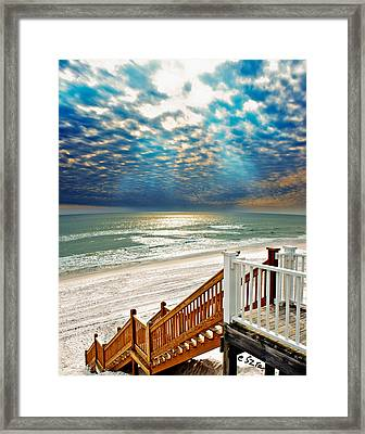 Rosemary Seaside Beach Florida Staircase White Sand Blue Clouds Art Framed Print