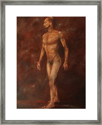 The Nude Walking Framed Print by Pralhad Gurung