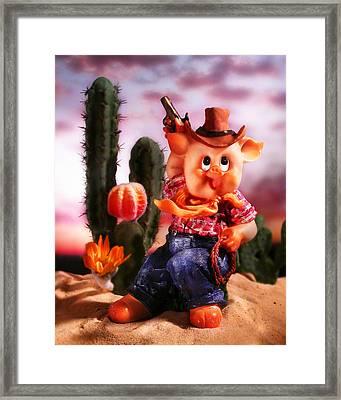Cowboy Pig Framed Print by Diane Bradley