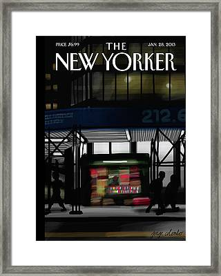 New Yorker January 28th, 2013 Framed Print by Jorge Colombo