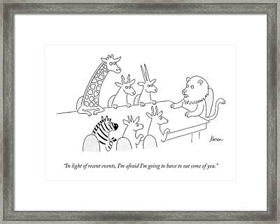 In Light Of Recent Events Framed Print