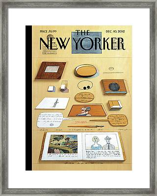 New Yorker December 10th, 2012 Framed Print by Saul Steinberg