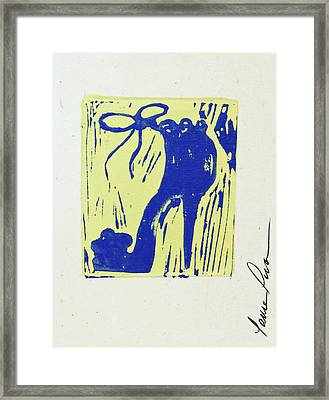 Untitled Shoe Print In Blue And Green Framed Print by Lauren Luna