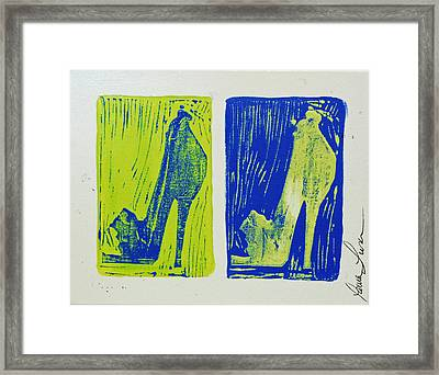 Untitled Shoe Print In Green And Blue Framed Print by Lauren Luna