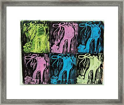 Untitled Shoe Print In Purple Green Blue And Pink Framed Print by Lauren Luna