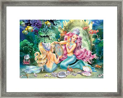 Mermaids And Pearls Framed Print by Zorina Baldescu