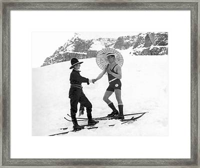 Unusual Meeting On The Slopes Framed Print by Underwood Archives