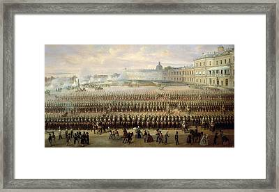 Unveiling Of The Paul I Memorial In Gatchina, 1850 Oil On Canvas Framed Print by Gustav Schwarz
