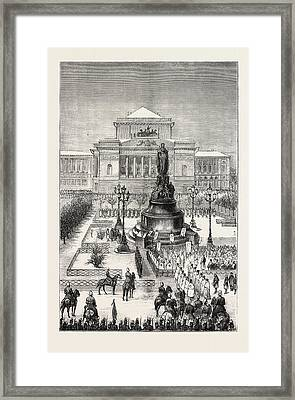 Unveiling The Statue Of Catherine II At St Framed Print by English School