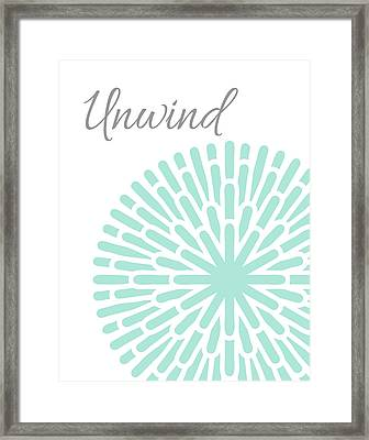 Unwind Aqua Grey Burst Framed Print