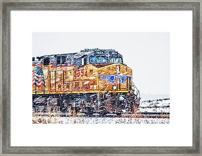 Up 5854 In The Snow Framed Print