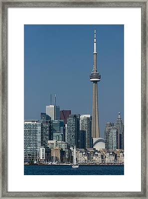 Up Close And Personal - Cn Tower Toronto Harbor And Skyline From A Boat Framed Print by Georgia Mizuleva
