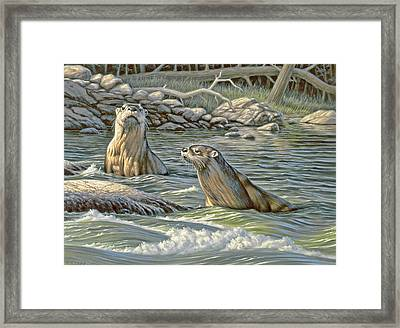 Up For Air - River Otters Framed Print