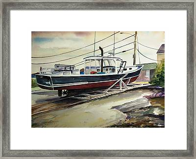 Up For Repairs In Perkins Cove Framed Print by Scott Nelson