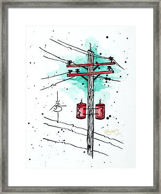 Up On A Wire Framed Print by Emily Pinnell