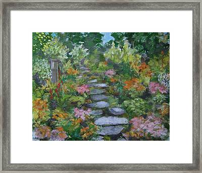Up The Garden Path Framed Print by Anne F Marshall